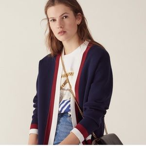 SANDRO Nouchica striped-trim woven cardigan As Is